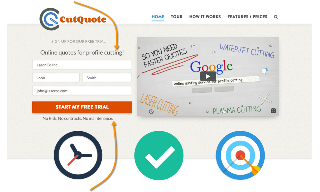 Screenshot der CutQuote-Website